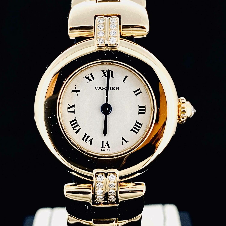 Cartier Colisee Yellow Gold 23MM Factory Diamond Rare Bracelet B&P