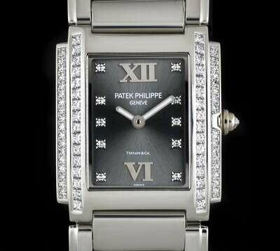 Patek Philippe Twenty-4 Grey Diamond Dial, White Gold Factory Diamonds 25MM