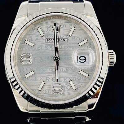 Rolex Datejust 36MM White Gold, Rare White Diamond Wave Dial MINT