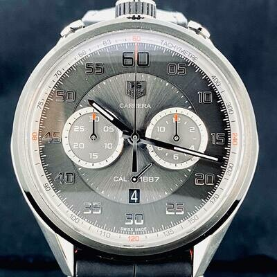 TAG Heuer Carrera Calibre 1887 PVD Titanium/Steel 45MM Grey Dial B&P