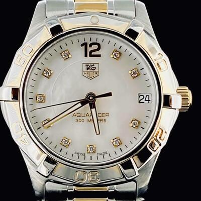 TAG Heuer Aquaracer Lady Gold Plated/Steel MOP Diamond Dial 32MM Quartz