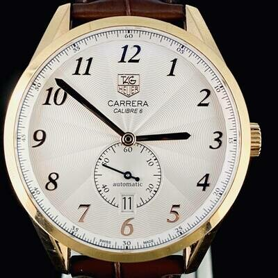 TAG Heuer Carrera Calibre 6 Heritage 39MM Rose Gold White Arabic MINT