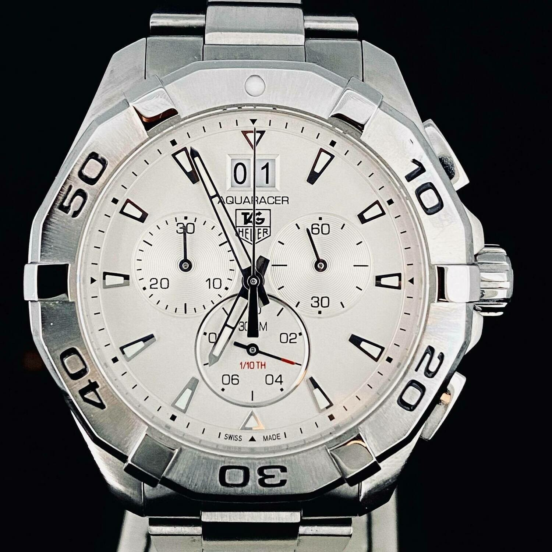 TAG Heuer Aquaracer 300M Chronograph Quartz Steel 43MM White Like New