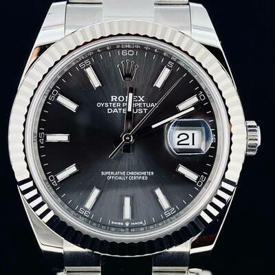 Rolex Datejust II 41MM White Gold Bezel steel Watch Grey Rhodium Dial Oyster 2020 UNWORN