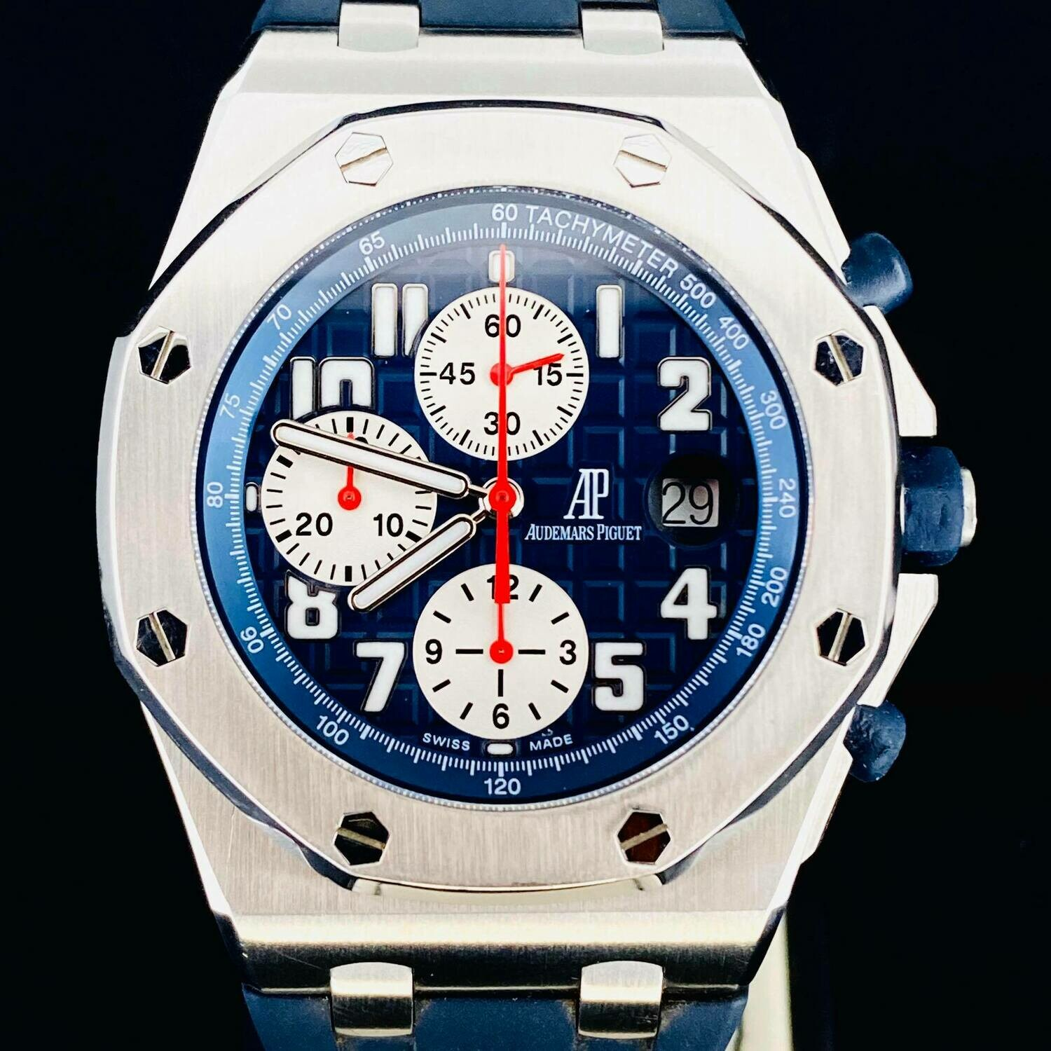 Audemars Piguet Royal Oak Offshore Rue Honore Chronograph Steel 42MM Blue Dial 100 Pieces Limited 2 Straps