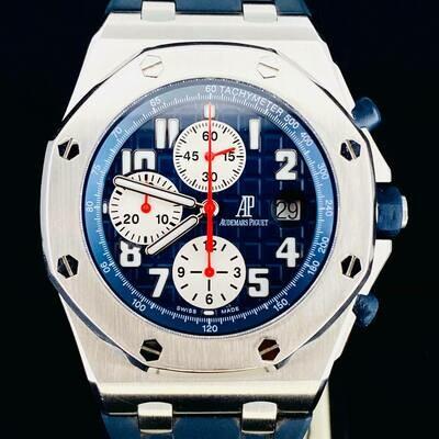 Audemars Piguet Royal Oak Offshore Rue Honore Chronograph Steel 42MM Blue Dial 100 Pieces Limited 2 Straps