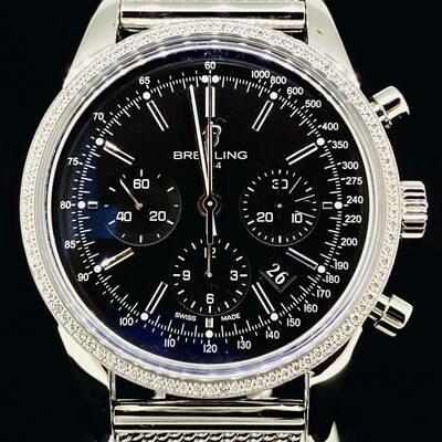 Breitling Transocean Chronograph Steel 43MM Factory Diamond Setted Bezel Black Dial MINT