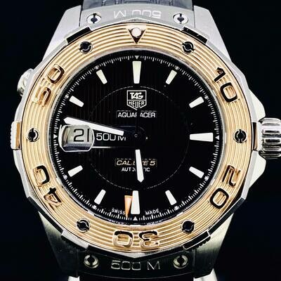 TAG Heuer Aquaracer 500M Calibre 5 Rose Gold/Steel Automatic Black Dial 44MM B&P2018 MINT