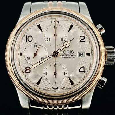 Oris Big Crown Chronograph Rose Gold/Steel 42MM Automatic Date Box&Paper Top Condition Like New