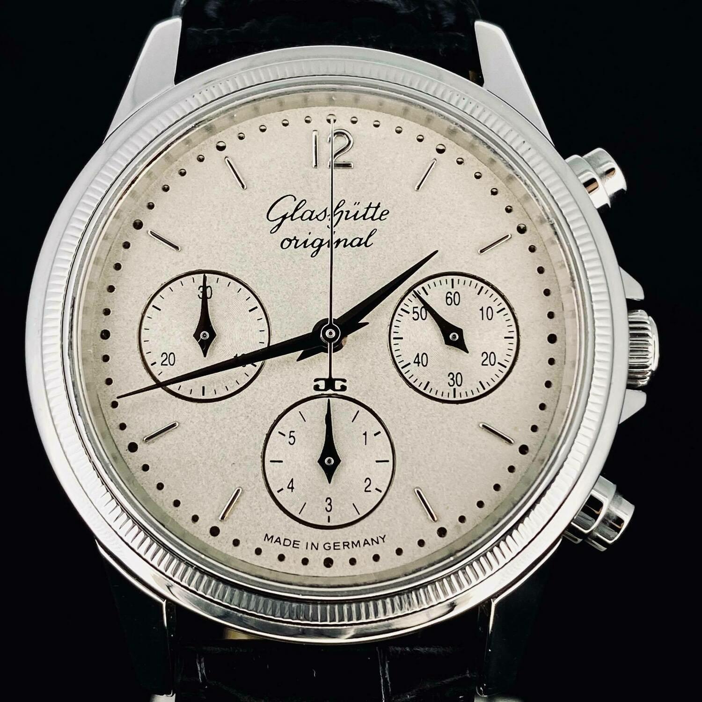 Glashütte Original Senator Chronograph Automatic Steel Watch 38MM Sunblasted Dial 'RARE' TOP Like New