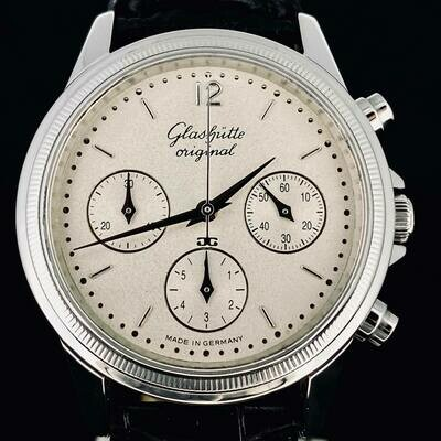 Glashütte Original Senator Chronograph Automatic Steel Watch 38MM Sunblasted Dial 'RARE' TOP Like New