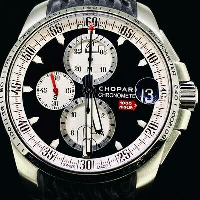 Chopard Mille Miglia GT XL 44MM Chronograph Carbon Dial Steel Watch Brescia Roma Limited Ed. 2020