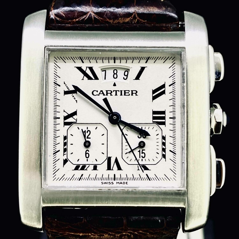 Cartier Tank Française XL Chronographe Steel B&P Mint
