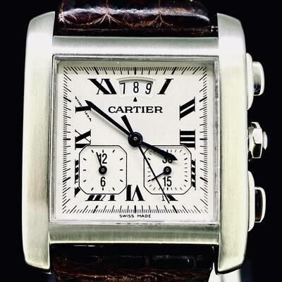 Cartier Tank Française XL Chronographe Steel B&P Mint