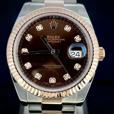 Rolex Datejust II 41MM Rose Gold/Steel Chocolate Diamond Dial Oyster Bracelet B&P2019 MINT