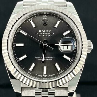 Rolex Datejust II 41MM White Gold Bezel/Steel Watch Grey Rhodium Dial Jubilee B&P2018 MINT
