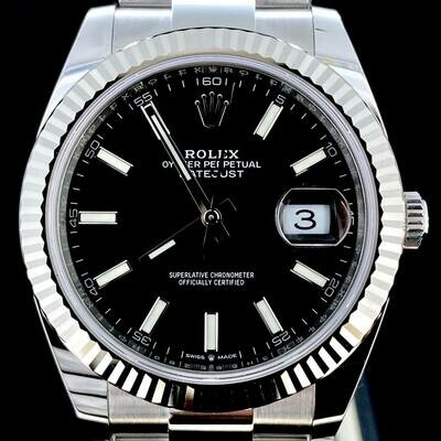 Rolex Datejust II 41MM White Gold Bezel/Steel Watch Black Dial Oyster B&P2020 UNWORN New Card