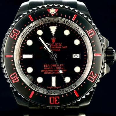 Rolex Sea-Dweller Deepsea Blacked Out/Black PVD/Red Customization 44MM Good Condition B&P2008