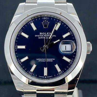 Rolex Datejust II Steel 41MM Blue Stick Dial Oyster Bracelet B&P2020