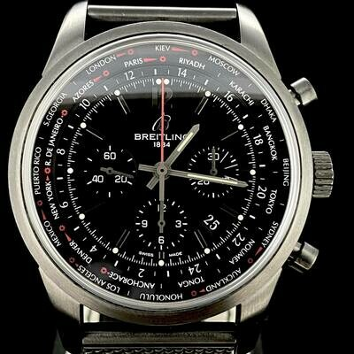 Breitling Transocean Black PVD Unitime Chronograph Pilot 46MM Steel B&P2013 Limited Edition 1000 PCS