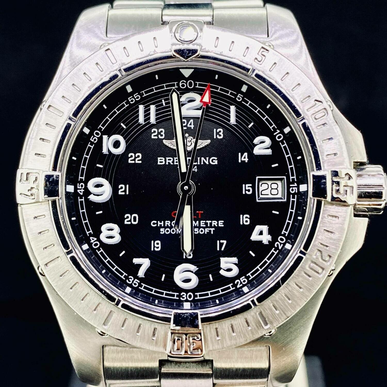 Breitling Colt Black Dial Chronometer 500M Quartz 41MM Steel Watch B&P fullset Very Good Condition