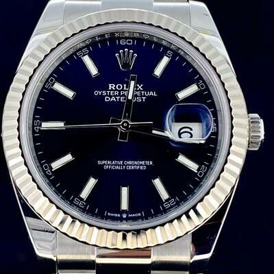 Rolex Datejust II 41MM Blue Stick Dial Oyster Bracelet White Gold Bezel/Steel Watch B&P2020