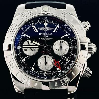 Breitling Chronomat Chronograph 44MM GMT 2 Time Zone Black Dial Steel Watch Fullset B&P2014