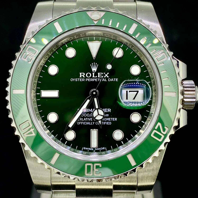 "Rolex Submariner Date Green ""Hulk"" Steel Watch Very Good Condition B&P2016 Fullset"