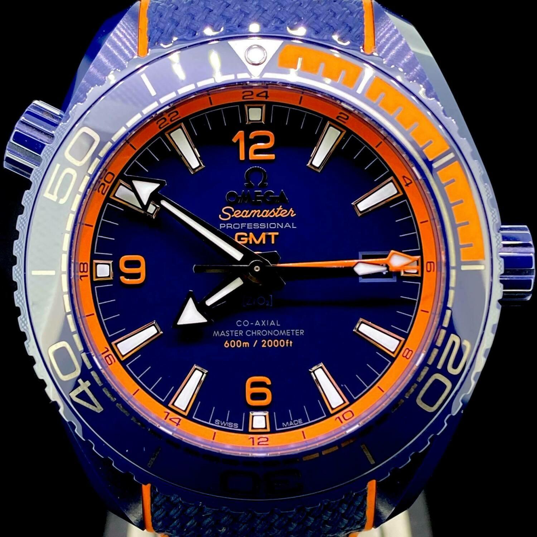 "Omega Seamaster GMT Planet Ocean 600M ""Big Blue"" 45.5MM Blue Ceramic/Orange Watch Unworn B&P2020"