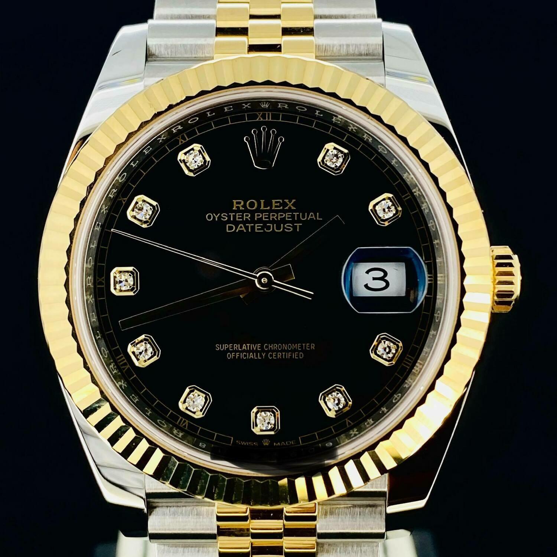 Rolex Datejust II 41MM Black Diamond Dial Jubilee Bracelet Yellow Gold/Steel B&P2020 Unworn