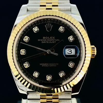 Rolex Datejust II 41MM Black Diamond Dial Jubilee Bracelet Yellow Gold/Steel B&P2020 Unworn