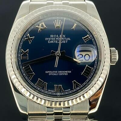 Rolex Datejust 36MM Steel Jubilee White Gold Bezel Blue Roman Dial B&P2014 Very Good Condition