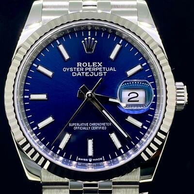 Rolex Datejust 36MM White Gold Bezel/Steel Watch Jubille Bracelet Blue Stick Dial B&P2020 Unworn