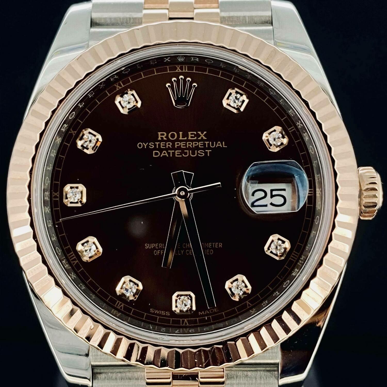 Rolex Datejust II 41MM Chocolate Diamond Dial Jubilee Bracelet Rose Gold/Steel B&P2019 Very Good