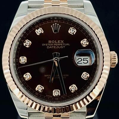 Rolex Datejust II 41MM Chocolate Diamond Dial Jubilee Bracelet Rose Gold/Steel B&P2019 Very Good