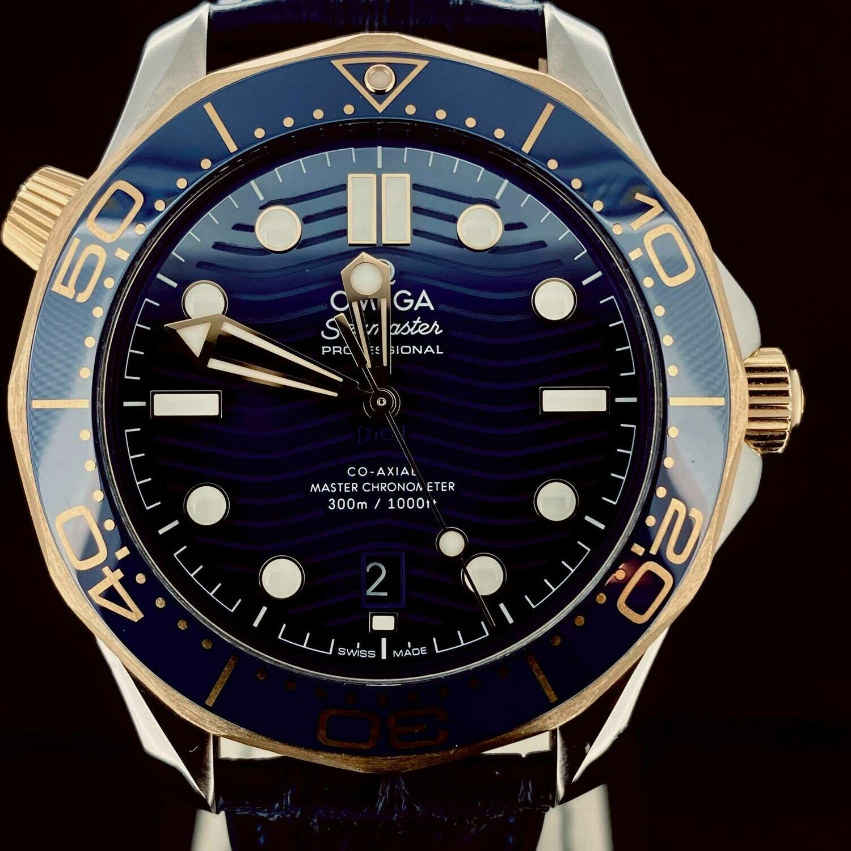 Omega Seamaster Diver 300 M Co Axial Blue Ceramic Bezel Yellow Gold/Steel 42MM Watch Unworn B&P