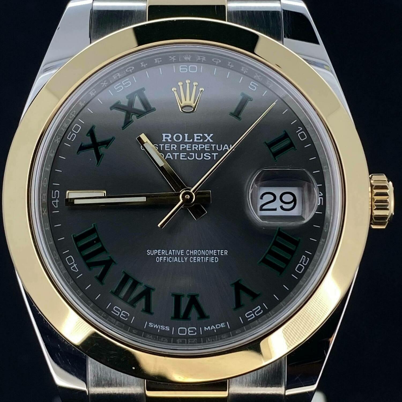 Rolex Datejust 41MM Yellow Gold/Steel Grey Wimbledon Dial B&P2019 Unworn