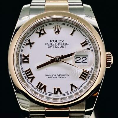 Rolex Datejust 36MM Rose Gold/Steel White Dial Oyster Bracelet B&P 2013
