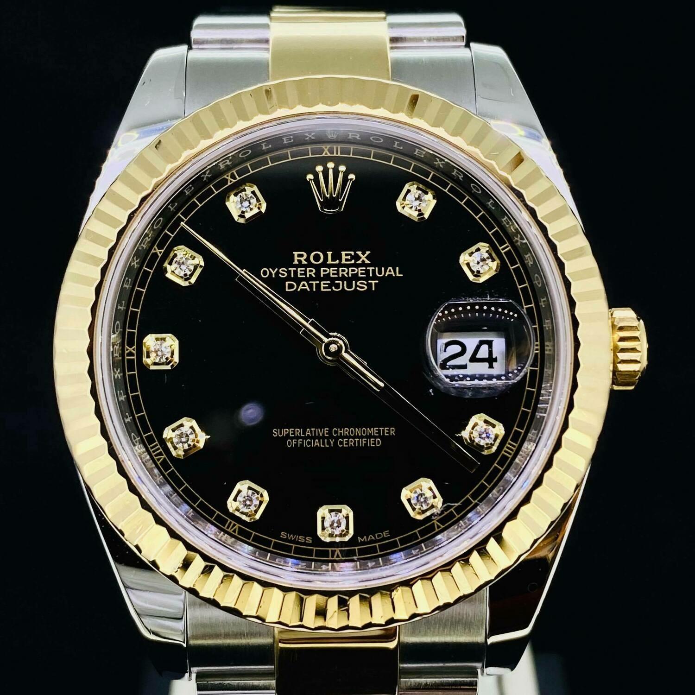 Rolex Datejust II 41MM Black Diamond Dial Yellow Gold/Steel Oyster Bracelet B&P2018