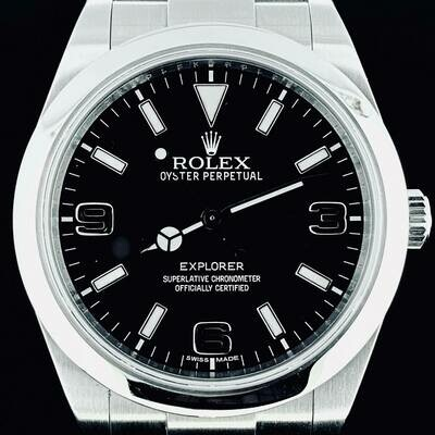 Rolex Explorer I - 1 39MM Steel Watch Black Dial Box & Papers 2015 - Very Good Condition