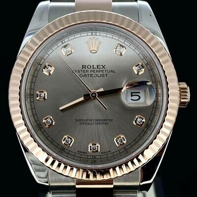 Rolex Datejust II 41MM Sundust Diamond Dial Oyster Bracelet Rose Gold/Steel B&P2019