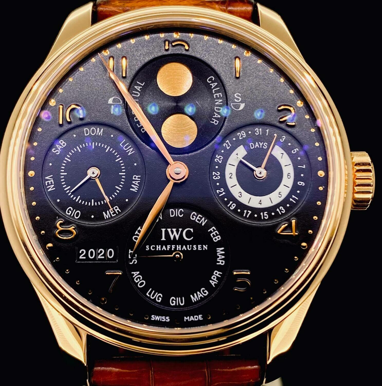 IWC Portuguese Perpetual Calendar 44MM Rose Gold Hemisphere Black Dial Full Set Box&Papers2007