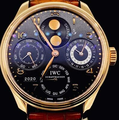 IWC Portuguese Perpetual Calendar 44MM Rose Gold Hemisphere Black Dial Full Set Box&Papers2007