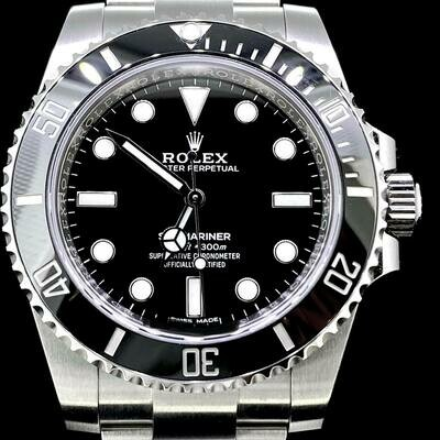 Rolex Submariner 40MM No Date Black Ceramic Steel Watch 2020/02 Box & Papers Fullset