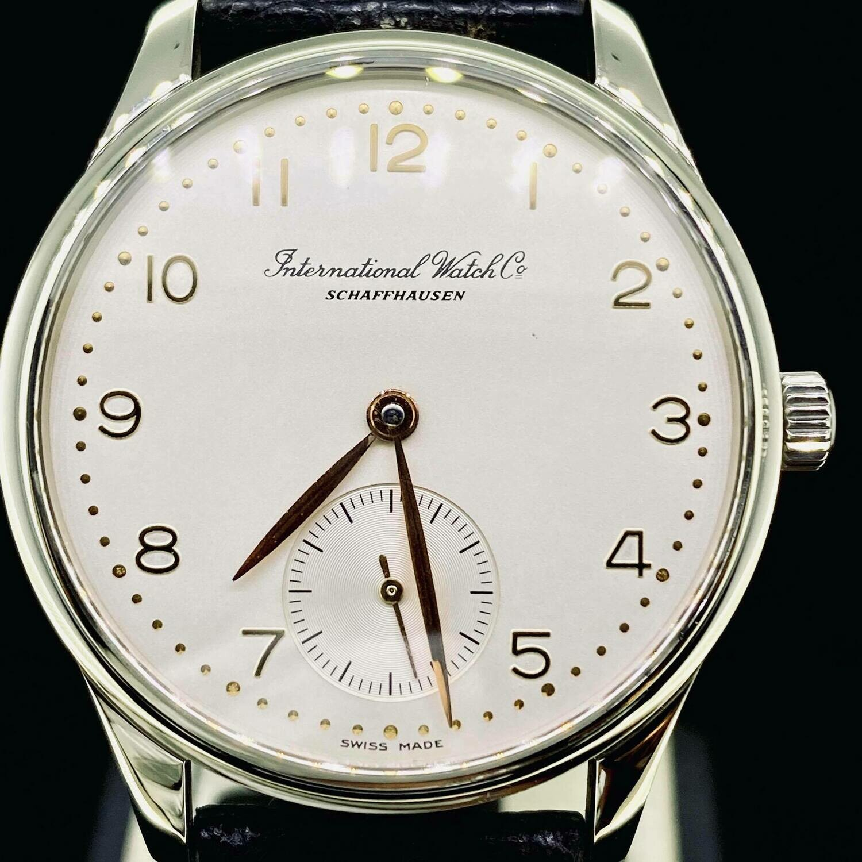 IWC Portuguese 3531-002 35MM Automatic Steel Watch Golden Numerals/Hands B&P Fullset 2001 MINT