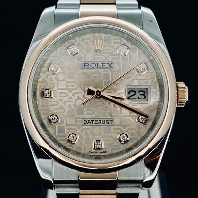 Rolex Datejust 36MM Rose Gold/Steel Pink Diamonds Jubilee Dial RARE Oyster Bracelet B&P2014