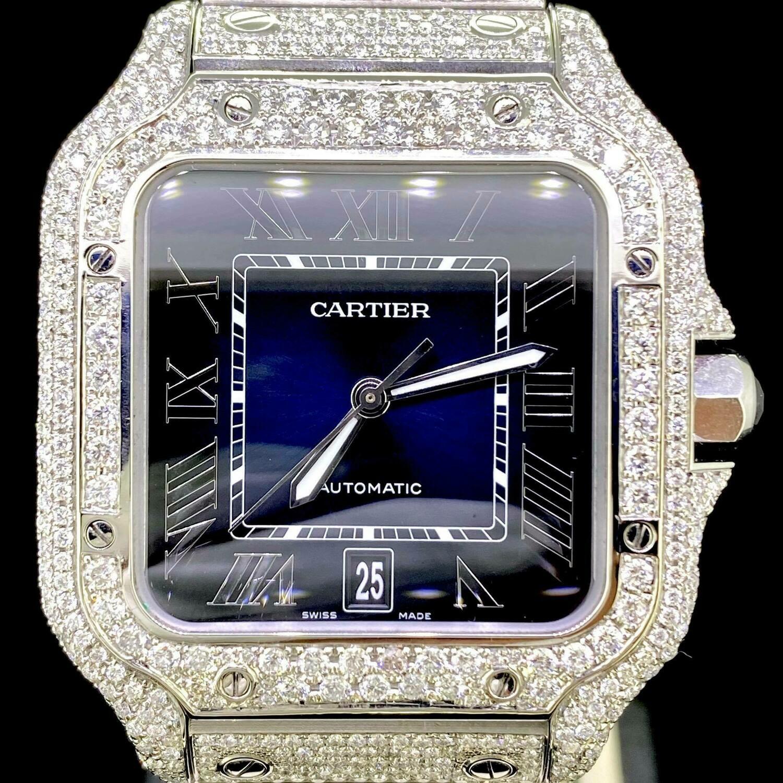 Cartier Santos XL 40MM Steel Blue Dial Fully Iced Out CUSTOM SET Diamonds UNWORN B&P2020 -ON ORDER