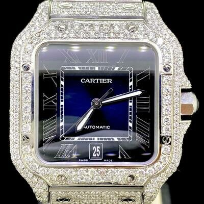 Cartier Santos XL 40MM Steel Blue Dial Fully Iced Out CUSTOM SET Diamonds UNWORN B&P2020 -ON ORDER