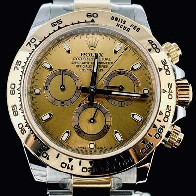 Rolex Daytona Chronograph 40MM Yellow Gold/Steel Champagne Dial B&P2019 Very Good Condition