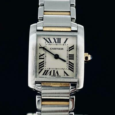 Cartier Tank Francaise 20X25MM 18kt Yellow Gold/Steel Quartz B&P Fullset MINT Condition